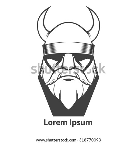 simple illustration for logo, viking head, front view, angry, sport team - stock vector