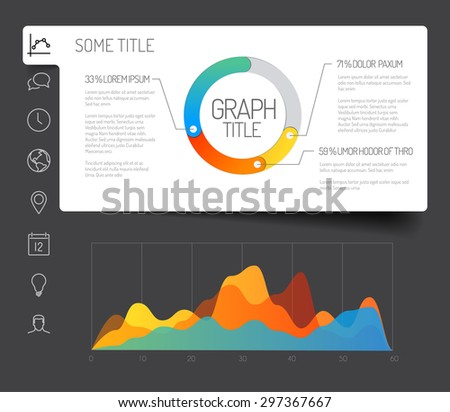 Simple infographic dashboard template with flat design graphs and charts - dark version - stock vector