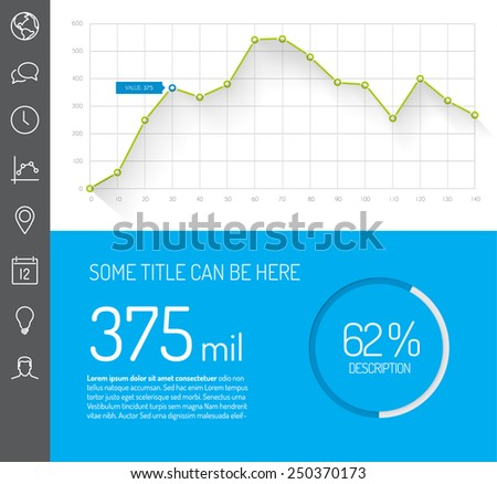 Simple infographic dashboard template with flat design graphs and charts - green and blue version - stock vector