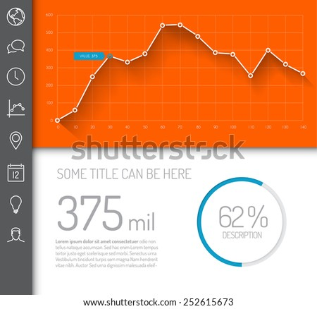 Simple infographic dashboard template with flat design graphs and charts - orange and blue version - stock vector