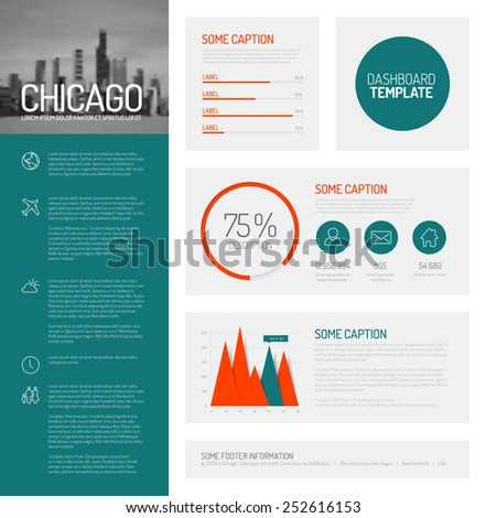 Simple infographic dashboard template with flat design graphs and charts - teal and red version - stock vector