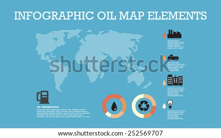 Simple infographic oil map with charts element business innovative and creative inspiration company, design, template, and vector collection. - stock vector