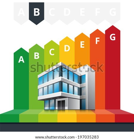 Simple infographic vector illustration of building energy efficiency classification certificate.   - stock vector