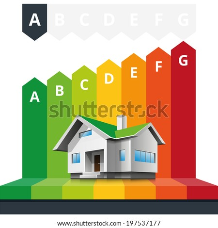 Simple infographic vector illustration of house energy efficiency classification certificate.   - stock vector