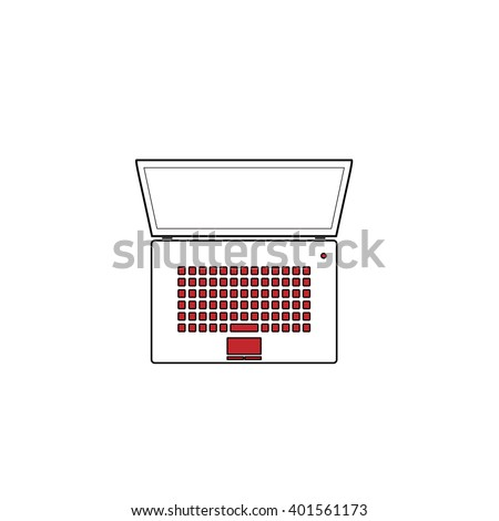 Simple Laptop. Red flat simple modern illustration icon with stroke. Collection concept vector pictogram for infographic project and logo - stock vector