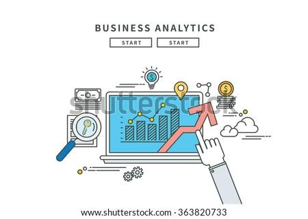simple line flat design of business analytics, modern vector illustration - stock vector