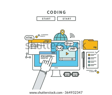 simple line flat design of coding, modern vector illustration - stock vector