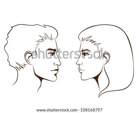 simple line illustration of beautiful young woman and man from profile - stock vector