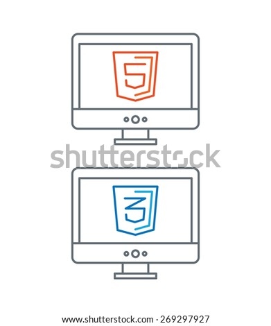 simple line illustration of web development icons, html and css - isolated on white background - stock vector