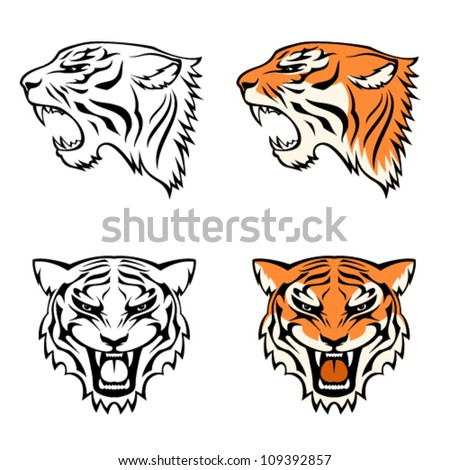simple line illustrations of tiger head from profile and front view, suitable as tattoo or team mascot - stock vector
