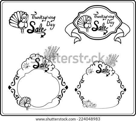 Simple linear frames for text and headlines on Thanksgiving Day/Frames and Headers on Thanksgiving Day - stock vector