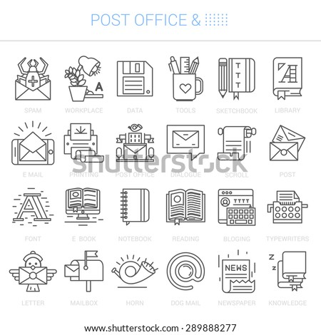 Simple linear icons in a modern style flat. Post Office. Isolated on white background. - stock vector