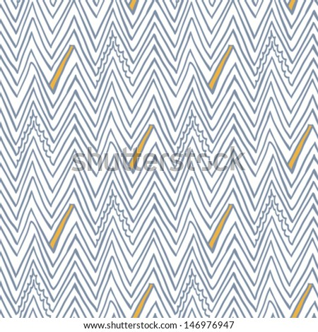 Simple, linear seamless vector pattern with zigzag lines in grey, white, orange. Texture in hipster style for web, print, wallpaper, fall fashion fabric, textile, website or invitation background - stock vector