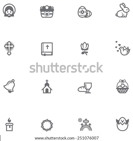 Simple linear Vector icon set representing Easter related icons. Easter symbols and objects - stock vector