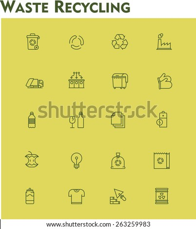 Simple linear Vector icon set representing garbage separation and recycling related icons. Garbage, trash collection and recycling process symbols - stock vector