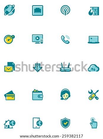 Simple linear Vector icon set representing Internet service provider objects and network equipment - stock vector