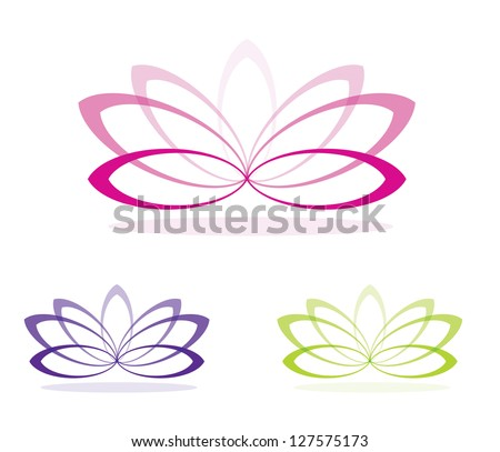 Simple lotus flowers in vector format. - stock vector