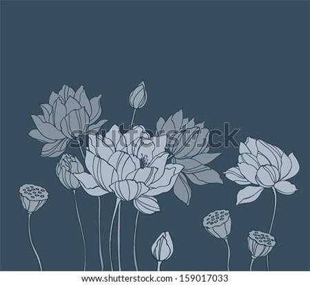 Simple lotus on dark background - stock vector