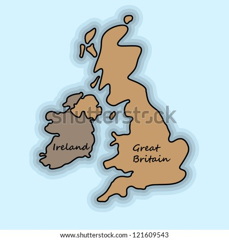 Simple map of Great Britain and Ireland - stock vector