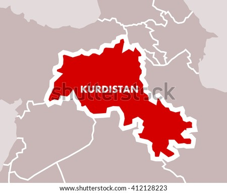 Simple map of Kurdistan as independent state of Kurdish nation. Territory in the middle east on area of Iran, Iraq, Syria and Turkey. - stock vector