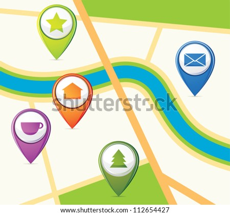 Simple map with few pins - stock vector