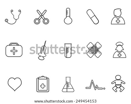 simple medical outline icon - stock vector