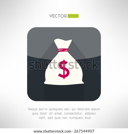 Simple money bag icon made in modern clean and simple flat design. Bank savings concept symbol with long shadow. Vector illustration - stock vector