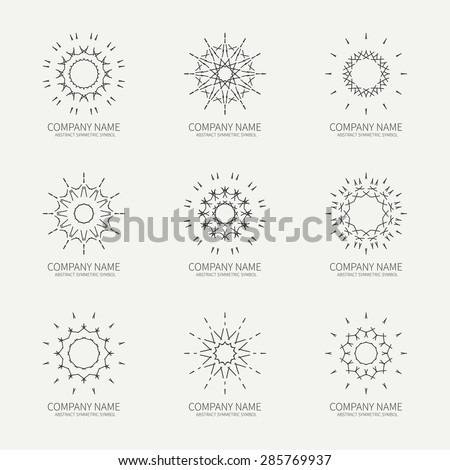 Simple monochrome geometric abstract symmetric shapes set. Modern business icon collection. Logo template. Hexagon round ornament. Vector symbols, emblems, element and logotypes. - stock vector