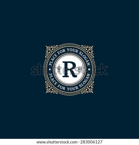 Simple monogram design template with letter R. Elegant frame ornament line logo design. Good for Restaurant, Boutique, Hotel, Heraldic, Jewelry. - stock vector