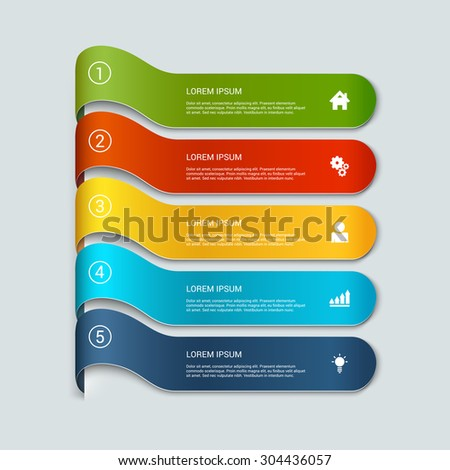 Simple multicolor 3d line 5 steps infographics mockup template. Infographic background concepts collection. - stock vector