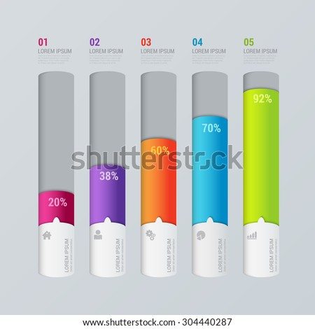 Simple multicolor 5 step indicator bar graph chart graphic process steps labels infographics mockup template. Infographic background concepts collection. - stock vector