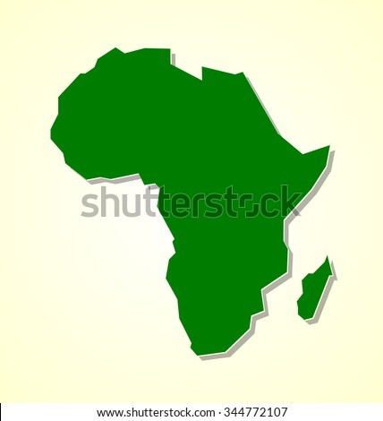 Simple not detailed shape of Africa continent with shadow on pale background - stock vector