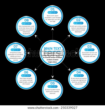 Simple organization chart with main idea and eight blue options on the black background. EPS10. Can be used for workflow layout, web design, banner, presentation, poster, flyer.  - stock vector