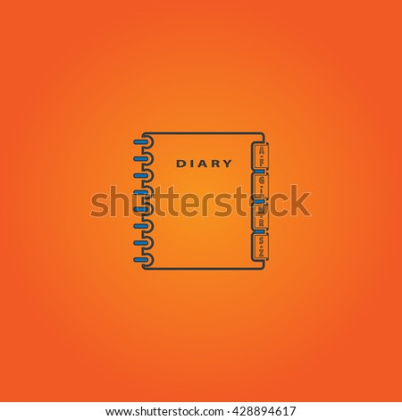 Simple organizer. Blue flat icon with black stroke on orange background. Collection concept vector pictogram for infographic project and logo - stock vector