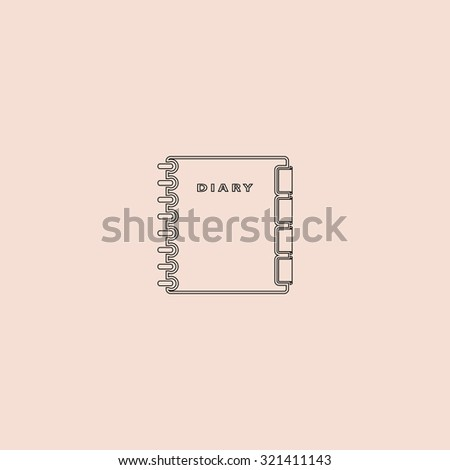 Simple organizer. Outline vector icon. Simple flat pictogram on pink background - stock vector