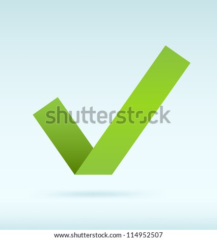 Simple origami green tick. Vector image. - stock vector