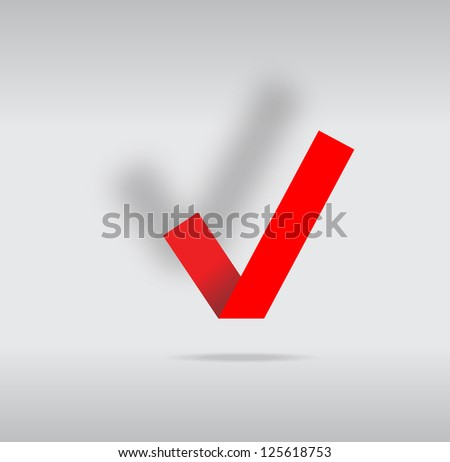 Simple origami red tick. Vector image. - stock vector
