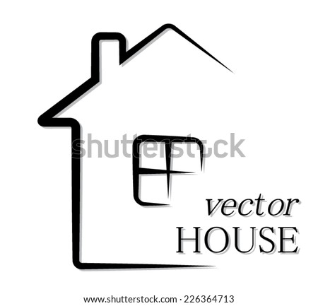 simple outline house/ vector pictogram illustration - stock vector