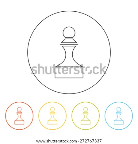 Simple outline pawn icon. Vector silhouette of a chess piece. Soldier symbol. Concept for transformation, promotion, strategy - stock vector