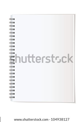 Simple paper office supplies note pad spiral bound - stock vector