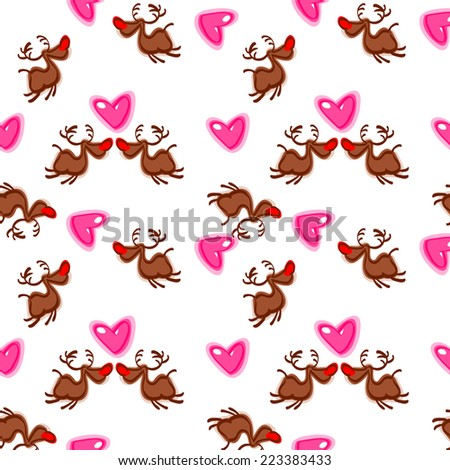 Simple pattern in the hearts and deer. Valentine's Day. Love. vector - stock vector