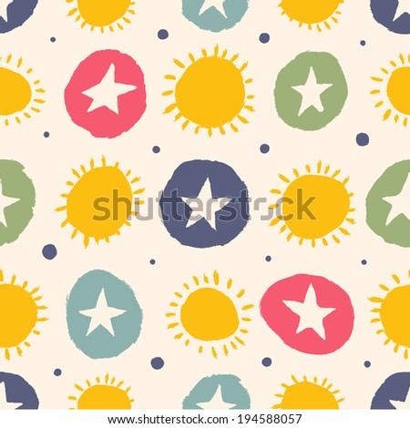 Simple pattern with stars and the sun. Seamless pattern can be used for wallpapers, pattern fills, web page backgrounds,surface textures. - stock vector
