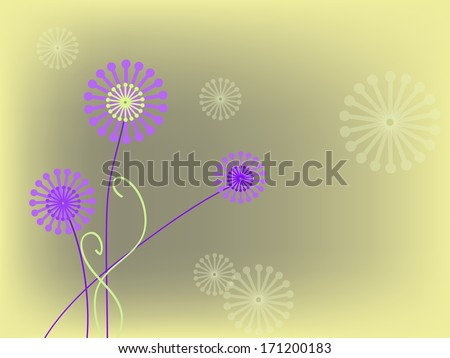 simple pink flowers on bright background - stock vector