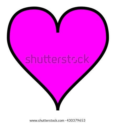 Simple pink heart, isolated over a white background. Vector. - stock vector