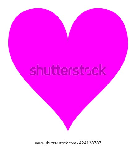 Simple pink heart, isolated over a white background. Vector illustration. - stock vector