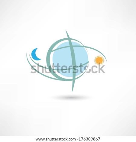 simple planet symbol with moon and sun - stock vector