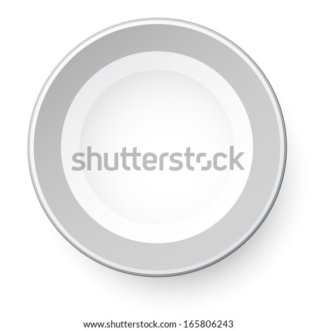 Simple plate. View from above. Isolated on white background. - stock vector