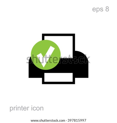 Simple printer vector icon isolated. Laser or inkjet printer icon for web, advertising, layout design. Receipt printer, office equipment, vector illustration, interface element - stock vector
