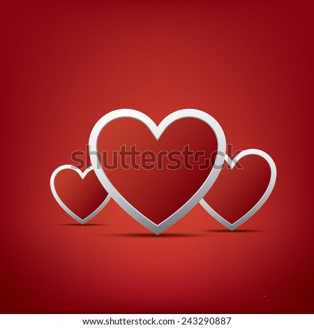 Simple realistic valentine's day hearts card design on red background and space for text. Eps10 vector illustration. - stock vector