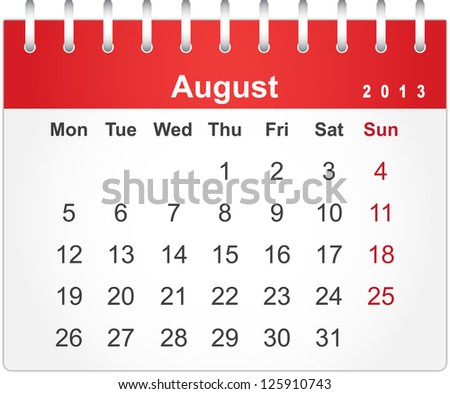 Simple red calendar for August 2013 (week starts from Monday) - stock vector